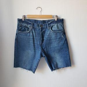 H&M Denim Distressed Straight Fit Jean Shorts